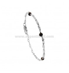 MEN'S BRACELET EMPTY MESH WITH STONES IN SILVER RHODIUM TIT 925 CM 20