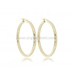 CIRCLE EARRINGS 40 MM ROUND ROD 3 MM GOLDEN SILVER TIT 925 ‰