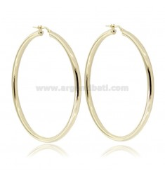 CIRCLE EARRINGS 50 MM ROUND ROD 3 MM SILVER GOLDEN TIT 925 ‰
