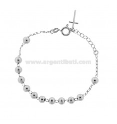 ROSARY BRACELET WITH SMOOTH BALL 6 MM 16-20 SILVER RHODIUM 925 ‰