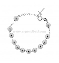 ROSARY BRACELET WITH SMOOTH BALL 8 MM 16-20 SILVER RHODIUM 925 ‰