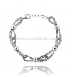 POP CORN BRACELET WITH BALLS IN SILVER RHODIUM TIT 925 ‰ CM FROM 17 EXTENDABLE TO 19
