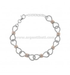 POP CORN BRACELET WITH WASHERS IN SILVER RHODIUM AND ROSE TIT 925 TIT CM FROM 17 EXTENDABLE TO 19