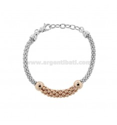 KOREAN BRACELET IN SILVER RHODIUM AND ROSE TIT 925 ‰ CM FROM 17 EXTENDABLE TO 19