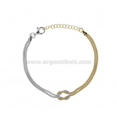 POP CORN BRACELET WITH CENTRAL KNOT IN RHODIUM-PLATED SILVER TIT 925 ‰ CM FROM 18 EXTENDABLE TO 20