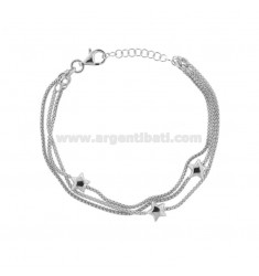 BRACCIALE POP CORN MM 1,5 A 3 FILI CON STELLE IN ARGENTO RODIATO TIT 925 CM 18-21
