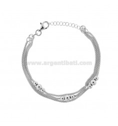 BRACCIALE POP CORN MM 1,5 A 3 FILI CON SFERE IN ARGENTO RODIATO TIT 925 CM 18-21