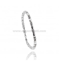 MEN'S BRACELET EMPTY MESH WITH CENTRAL PLATE AND SILVER BICOLOR TIT 925 CM 20