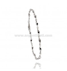 MEN'S BRACELET EMPTY MESH WITH CENTRAL PLATE IN SILVER RHODIUM TIT 925 CM 20