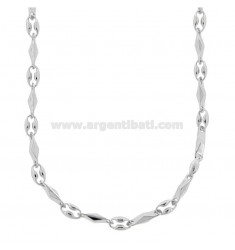 NECKLACE MAN MARINA SHIRT AND SEGMENT IN SILVER RHODIUM TIT 925 CM 60