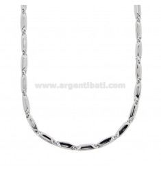 MEN'S NECKLACE EMPTY SEGMENT MESH IN SILVER RHODIUM TIT 925 CM 60