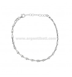 COMPRESSED MOUSE TAIL BRACELET TWISTED WITH SILVER RHODIUM BALLS TIT 925 ‰ CM 17-19