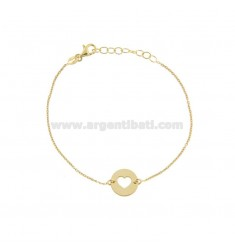 CABLE BRACELET WITH HEART IN A GOLDEN SILVER CIRCLE TIT 925 ‰ CM 17-19