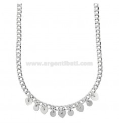 GROUMETTE NECKLACE WITH HEARTS AND PENDING RODS IN SILVER RHODIUM TIT 925 ‰ CM 40-45
