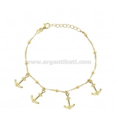 SINGAPORE BRACELET WITH ANCHORS IN GOLDEN SILVER TIT 925 ‰ CM 17-19
