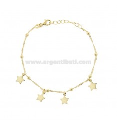 SINGAPORE BRACELET WITH STARS IN GOLDEN SILVER TIT 925 ‰ CM 17-19