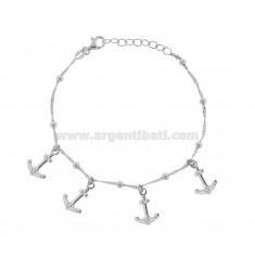 SINGAPORE BRACELET WITH ANCHORS PENDANTS IN SILVER RHODIUM TIT 925 ‰ CM 17-19