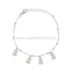 SINGAPORE BRACELET WITH BEARS IN RHODIUM SILVER TIT 925 ‰ CM 17-19