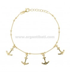 CABLE BRACELET WITH ANCHORS IN GOLDEN SILVER TIT 925 ‰ CM 17-19