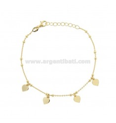 CABLE BRACELET WITH HEARTS IN GOLDEN SILVER TIT 925 ‰ CM 17-19