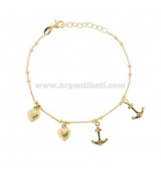 CABLE BRACELET WITH HEARTS AND ANCHORS IN GOLDEN SILVER TIT 925 ‰ CM 17-19