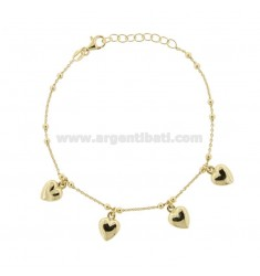 CABLE BRACELET WITH ROUNDED HEARTS IN GOLDEN SILVER TIT 925 ‰ CM 17-19