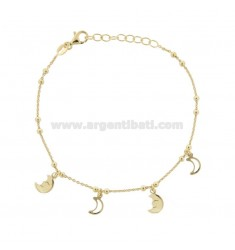 BRACELET CABLE WITH MOONS IN GOLDEN SILVER TIT 925 ‰ CM 17-19