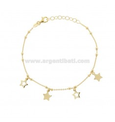 CABLE BRACELET WITH STARS IN GOLDEN SILVER TIT 925 ‰ CM 17-19