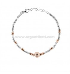BRACELET WITH WASHERS AND BALL IN SILVER RHODIUM AND ROSE TIT 925 ‰ CM 17-19