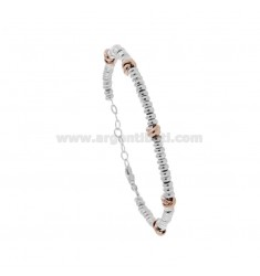 BRACELET WITH WASHERS IN RHODIUM-PLATED SILVER AND ROSE TIT 925 ‰ CM 17-19