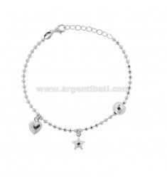 BRACELET WITH BALLS WITH STAR AND HEART PENDANT IN SILVER RHODIUM TIT 925 ‰ CM 17-19