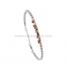 BRACELET WITH NUTS AND WASHERS IN RHODIUM-PLATED SILVER AND ROSE TIT 925 ‰ CM 17-19