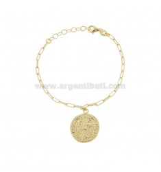 STRETCHED BRACELET WITH PENDANT GOLD SILVER COIN TIT 925 ‰ CM 17-19