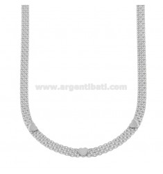 BISMARK KNIT NECKLACE WITH HEARTS IN SILVER RHODIUM TIT 925 ‰ CM 38-43