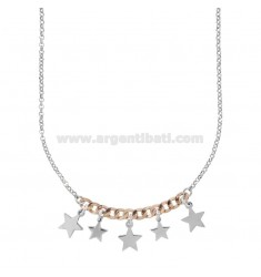NECKLACE ROLO 'AND GROUMETTE WITH STARS IN SILVER RHODIUM AND ROSE TIT 925 ‰ CM 40-44