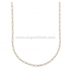 NECKLACE CABLE EXTENDED 2,4X6,4 MM IN ROSE SILVER TIT 925 CM 45
