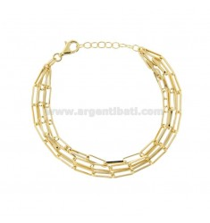 STRETCH ARMBAND STRETCHED 3X10 MM 3 DRÄHTE IN GOLD SILBER TIT 925 CM 18