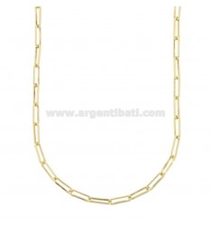 NECKLACE CABLE EXTENDED MM 3X10 IN GOLDEN SILVER TIT 925 CM 45