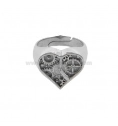 CHEVALIER RING HEART CLOCK IN SILVER RHODIUM TIT 925 SIZE ADJUSTABLE BY PINK