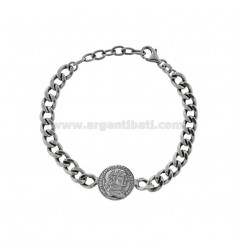 GROUMETTE BRACELET WITH CENTRAL COIN IN BRUNITO SILVER TIT 925 CM 17-19