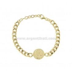 GROUMETTE BRACELET WITH CENTRAL GOLDEN SILVER COIN TIT 925 CM 17-19