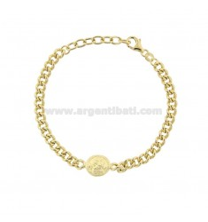 GROUMETTE BRACELET WITH SMALL CENTRAL GOLDEN SILVER COIN TIT 925 CM 17-19