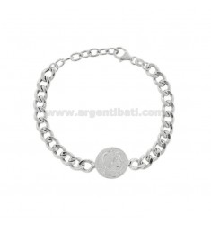 GROUMETTE BRACELET WITH CENTRAL SILVER RHODIUM TIT 925 CM 17-19