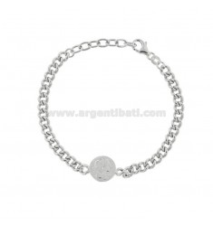 GROUMETTE BRACELET WITH SMALL CENTRAL SILVER RHODIUM TIT 925 CM 17-19