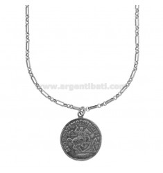 CHAIN NECKLACE WITH GOLDEN SILVER PENDANT COIN TIT 925 CM 80