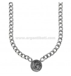 GROUMETTE NECKLACE WITH CENTRAL COIN IN BRUNITO SILVER TIT 925 CM 40-45