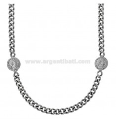 GROUMETTE NECKLACE WITH SMALL LATERAL COINS IN BRUNITO SILVER TIT 925 CM 40-45