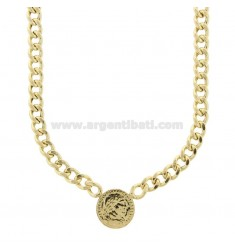 GROUMETTE NECKLACE WITH CENTRAL GOLDEN SILVER COIN TIT 925 CM 40-45
