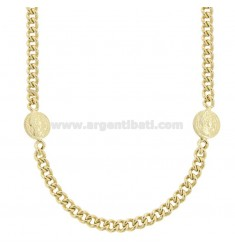 GROUMETTE NECKLACE WITH SMALL SIDE COINS IN GOLDEN SILVER TIT 925 CM 40-45