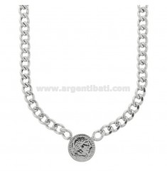 GROUMETTE NECKLACE WITH CENTRAL SILVER RHODIUM TIT 925 CM 40-45